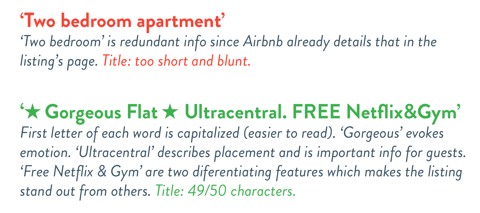 Examples of good and bad titles for short term rentals